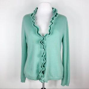 Garnett Hill Pistachio Cashmere Cardigan Sweater